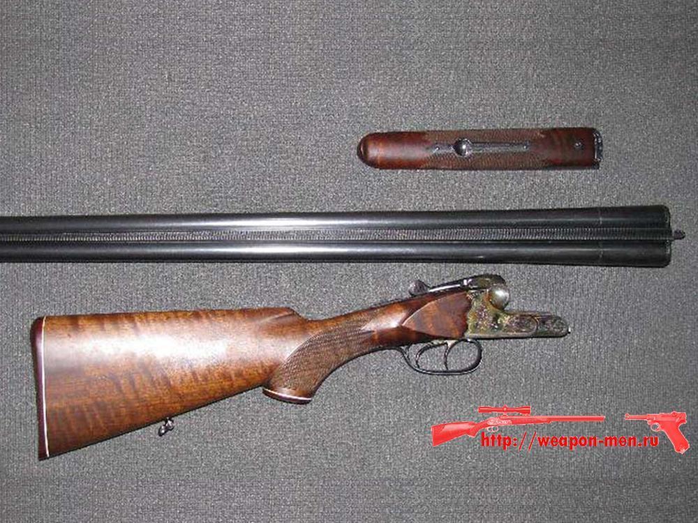 Двуствольное охотничье оружие ружьё ИЖ-54 с горизонтальным расположением стволов.